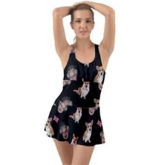 Queen Elizabeth s Corgis Pattern Ruffle Top Dress Swimsuit