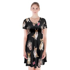 Queen Elizabeth s Corgis Pattern Short Sleeve V Neck Flare Dress