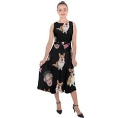 Queen Elizabeth s Corgis Pattern Midi Tie Back Chiffon Dress