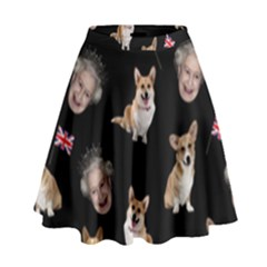 Queen Elizabeth s Corgis Pattern High Waist Skirt