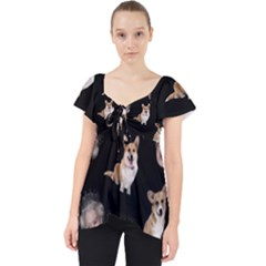 Queen Elizabeth s Corgis Pattern Lace Front Dolly Top