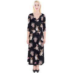 Queen Elizabeth s Corgis Pattern Quarter Sleeve Wrap Maxi Dress