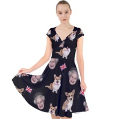 Queen Elizabeth s Corgis Pattern Cap Sleeve Front Wrap Midi Dress