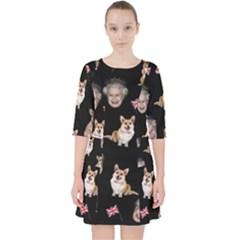 Queen Elizabeth s Corgis Pattern Pocket Dress