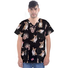 Queen Elizabeth s Corgis Pattern Men s V Neck Scrub Top