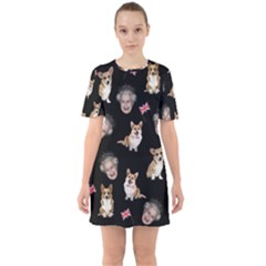 Queen Elizabeth s Corgis Pattern Sixties Short Sleeve Mini Dress