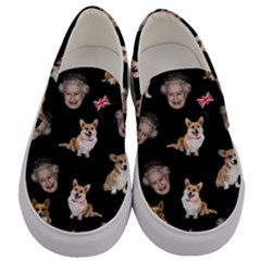 Queen Elizabeth s Corgis Pattern Men s Canvas Slip Ons
