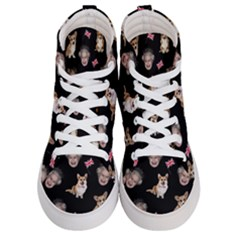 Queen Elizabeth s Corgis Pattern Men s Hi Top Skate Sneakers