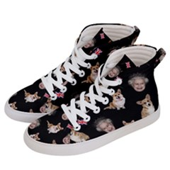 Queen Elizabeth s Corgis Pattern Women s Hi Top Skate Sneakers by Valentinaart