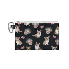 Queen Elizabeth s Corgis Pattern Canvas Cosmetic Bag (small) by Valentinaart