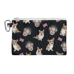 Queen Elizabeth s Corgis Pattern Canvas Cosmetic Bag (large)