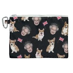 Queen Elizabeth s Corgis Pattern Canvas Cosmetic Bag (xl) by Valentinaart