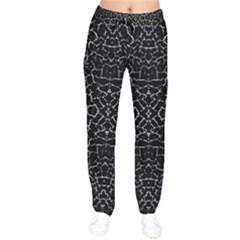 Cracked Dark Texture Pattern Velvet Drawstring Pants