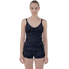 Cracked Dark Texture Pattern Tie Front Two Piece Tankini