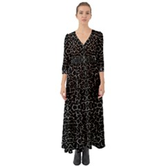 Cracked Dark Texture Pattern Button Up Boho Maxi Dress