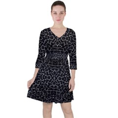 Cracked Dark Texture Pattern Ruffle Dress
