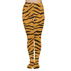 Orange And Black Tiger Stripes Women s Tights