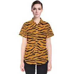Orange And Black Tiger Stripes Women s Short Sleeve Shirt by PodArtist