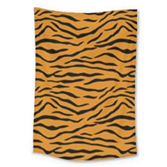 Orange And Black Tiger Stripes Large Tapestry by PodArtist