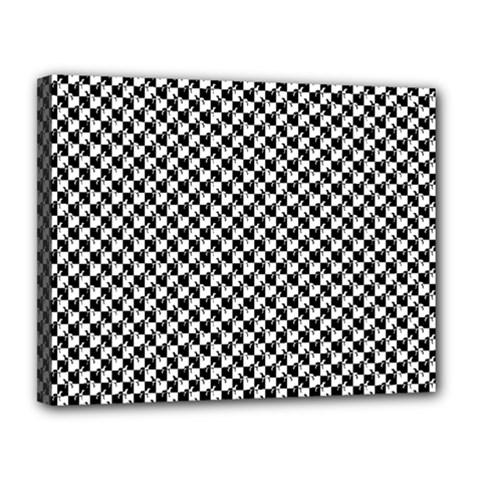 Black And White Checkerboard Weimaraner Canvas 14  X 11