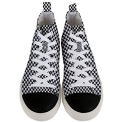 Black And White Checkerboard Weimaraner Men s Mid Top Canvas Sneakers