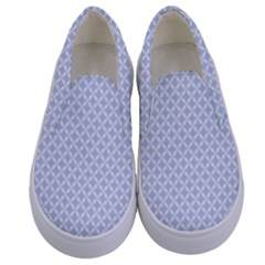 Alice Blue Quatrefoil In An English Country Garden Kids  Canvas Slip Ons