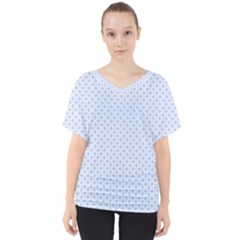 Alice Blue Hearts In An English Country Garden V Neck Dolman Drape Top