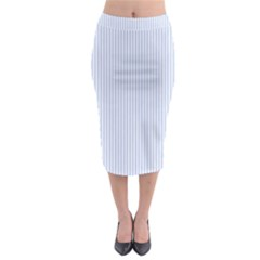 Alice Blue Pinstripe In An English Country Garden Midi Pencil Skirt by PodArtist
