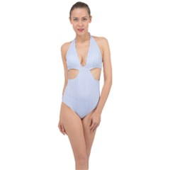 Alice Blue Pinstripe In An English Country Garden Halter Front Plunge Swimsuit