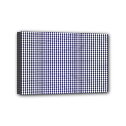 Usa Flag Blue And White Gingham Checked Mini Canvas 6  X 4  by PodArtist