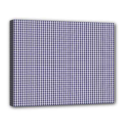Usa Flag Blue And White Gingham Checked Canvas 14  X 11  by PodArtist