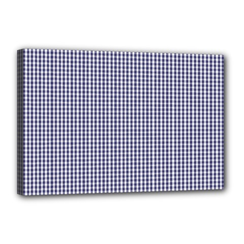 Usa Flag Blue And White Gingham Checked Canvas 18  X 12  by PodArtist