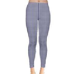 Usa Flag Blue And White Gingham Checked Leggings  by PodArtist