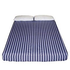 Usa Flag Blue And White Gingham Checked Fitted Sheet (queen Size) by PodArtist