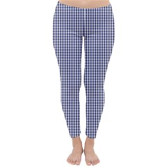 Usa Flag Blue And White Gingham Checked Classic Winter Leggings by PodArtist