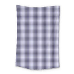 Usa Flag Blue And White Gingham Checked Small Tapestry by PodArtist