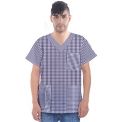 Usa Flag Blue And White Gingham Checked Men s V Neck Scrub Top by PodArtist