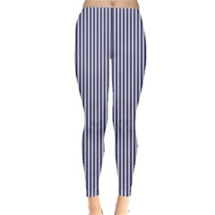 Usa Flag Blue And White Stripes Leggings  by PodArtist