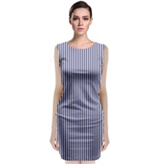 Usa Flag Blue And White Stripes Classic Sleeveless Midi Dress
