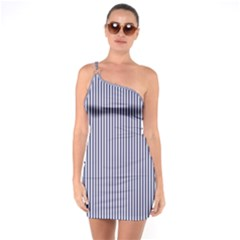 Usa Flag Blue And White Stripes One Soulder Bodycon Dress by PodArtist