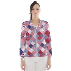Usa Americana Diagonal Red White & Blue Quilt Windbreaker (women)