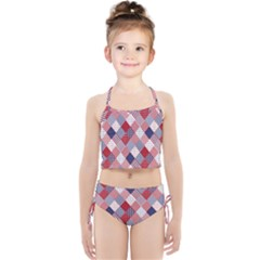 Usa Americana Diagonal Red White & Blue Quilt Girls  Tankini Swimsuit