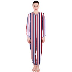 Usa Flag Red White And Flag Blue Wide Stripes Onepiece Jumpsuit (ladies)  by PodArtist
