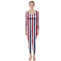 Usa Flag Red White And Flag Blue Wide Stripes Long Sleeve Catsuit by PodArtist