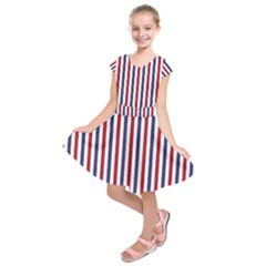 Usa Flag Red White And Flag Blue Wide Stripes Kids  Short Sleeve Dress by PodArtist