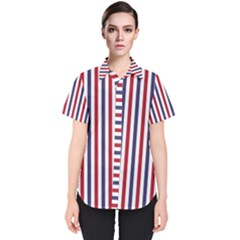 Usa Flag Red White And Flag Blue Wide Stripes Women s Short Sleeve Shirt by PodArtist