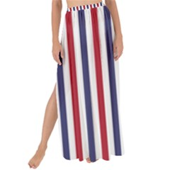 Usa Flag Red White And Flag Blue Wide Stripes Maxi Chiffon Tie Up Sarong by PodArtist