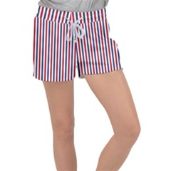 Usa Flag Red White And Flag Blue Wide Stripes Women s Velour Lounge Shorts by PodArtist