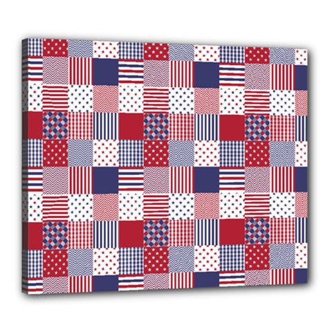 Usa Americana Patchwork Red White & Blue Quilt Canvas 24  X 20