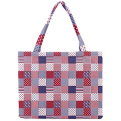 Usa Americana Patchwork Red White & Blue Quilt Mini Tote Bag